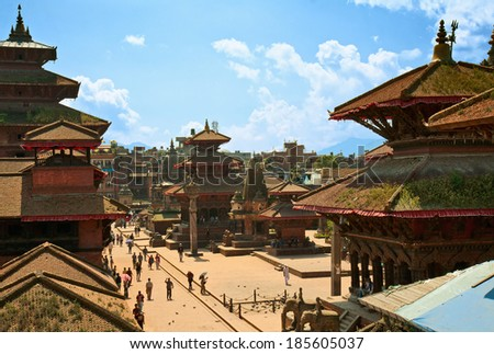 Patan Durbar Square one of the main sights of the Kathmandu valley - stock photo