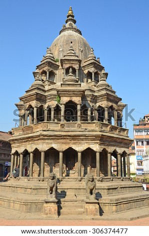 Patan, Nepal, ancient hindu stone temple of Krishna Mandir on Durbar square.  In spring 2015 square partially destroyed during the earthquake - stock photo