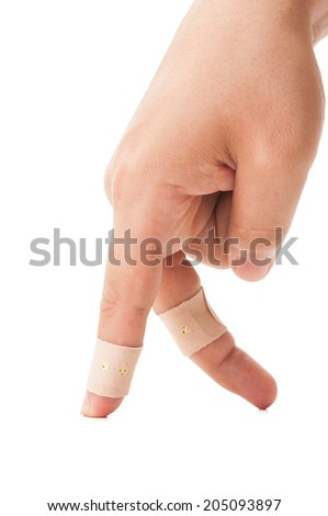 Patch fingers walking on white table and background. Hurt but walking concept. - stock photo