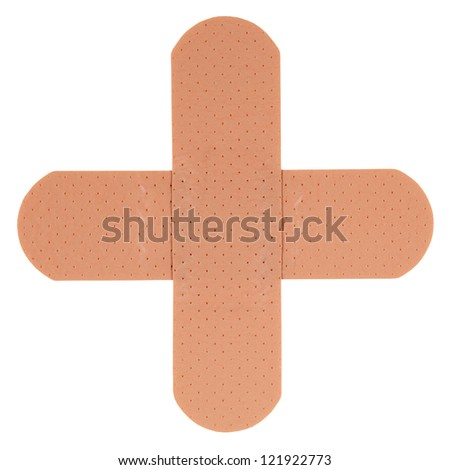 Patch in shape of a plus, isolated on white background - stock photo