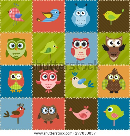 Patchwork background with birds and owls. Raster version - stock photo