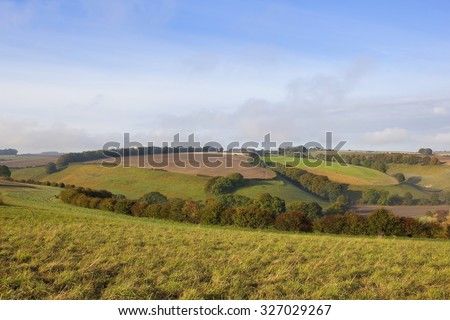 patchwork fields in an agricultural landscape with trees and hedgerows under a blue cloudy sky in the autumnal yorkshire wolds england - stock photo