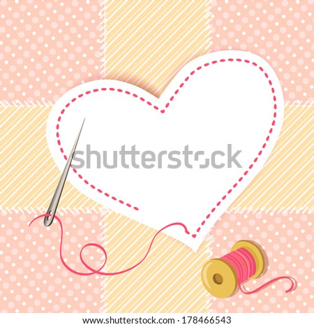 patchwork heart with a needle thread - stock photo