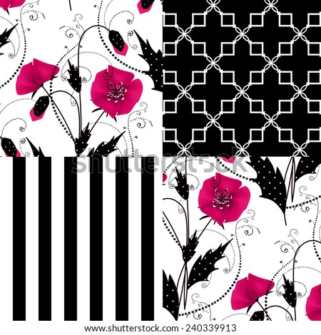 Patchwork seamless floral poppy pattern ornament striped background - stock photo