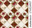 Patchwork seamless pattern texture background with roses and poppies - stock photo