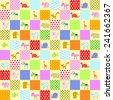 patchwork with animal: cat, giraffe, elephant, zebra, hippopotamus, pig, cow, horse, sheep, fish, leon and dinosaur. - stock photo