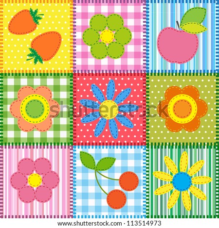 Patchwork with flowers, cherry, apple and strawberry. Raster version - stock photo