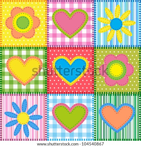 Patchwork with hearts and flowers.Raster version - stock photo