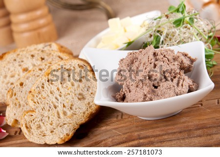 Pate and bread - stock photo