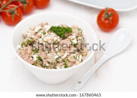 pate with tuna, homemade cheese and herbs, top view, horizontal - stock photo