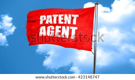 patent agent, 3D rendering, a red waving flag - stock photo
