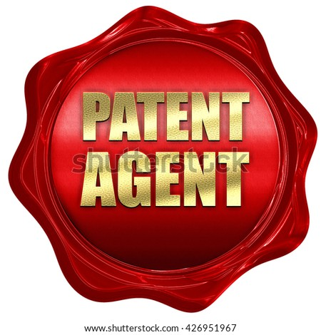 patent agent, 3D rendering, a red wax seal - stock photo