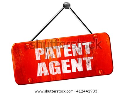 patent agent, 3D rendering, vintage old red sign - stock photo