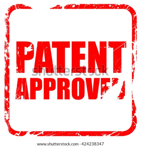 patent approved, red rubber stamp with grunge edges - stock photo