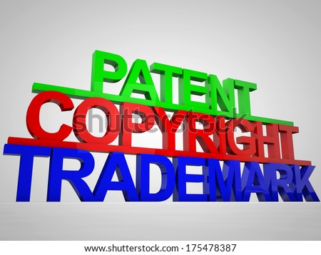 Patent Copyright Trademark colorful as 3D - stock photo