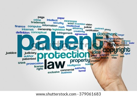 Patent word cloud - stock photo