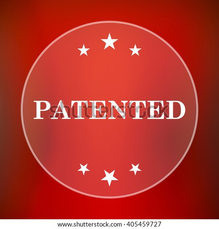 Patented icon. Internet button on red background. - stock photo