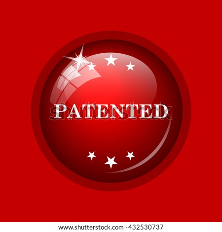 Patented icon. Internet button on red background.