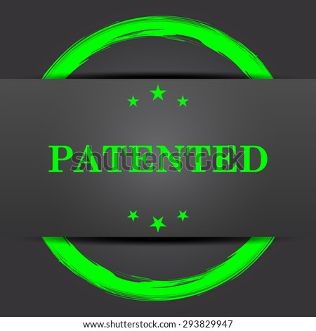 Patented icon. Internet button with green on grey background.  - stock photo
