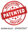 Patented stamp illustration over white - stock photo