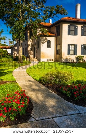 Path and building at Flagler College, in St. Augustine, Florida. - stock photo