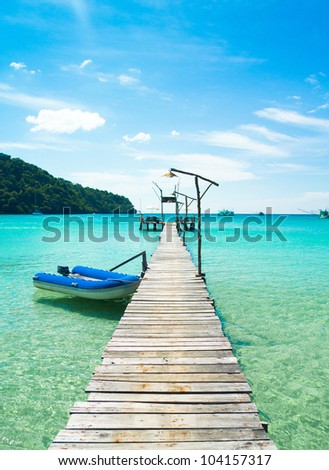 Path filled with Love Jetty to Eternity - stock photo