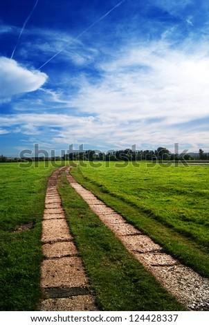 Path in green field - stock photo