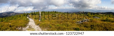 path in the mountains, Beskid - mountains in south western Poland - stock photo