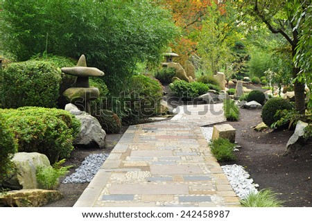 Path Japan garden nature - stock photo