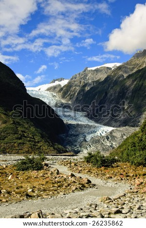 Path Leading to Franz Joseph Glacier in New Zealand - stock photo