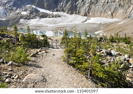 Path of the Glacier Trail Horizontal Looking Towards the Glacier Jasper National Park Alberta Canada - stock photo