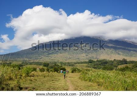 Path on Rinjani volcano, Lombok, Indonesia - stock photo