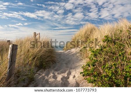 Path through dunes to the beach at the Baltic Sea near Heiligenhafen, Schleswig-Holstein, Germany - stock photo