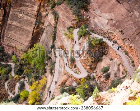 Path to Angels Landing in Zion national park - stock photo