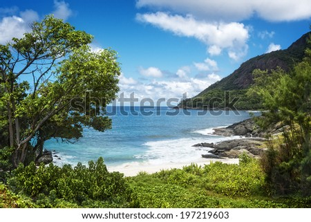 Path to Anse Cimitiere, Silhouette island,  Seychelles - stock photo