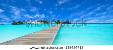 Path to beautiful island - stock photo