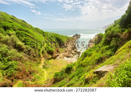 Path to beautiful rocky beach. Shot on the Otter trail in the Tsitsikamma National Park, Garden Route area, Western Cape, South Africa.  - stock photo