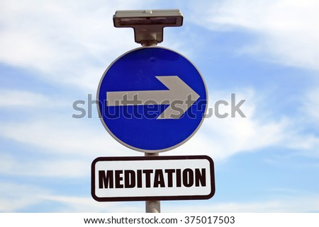 Path to meditation class, meditate sign post to happiness - stock photo