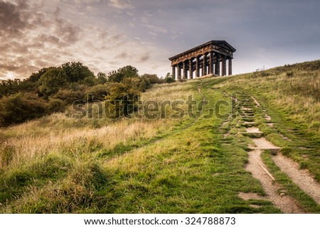 Path to Penshaw Monument / Penshaw Monument is a smaller copy of the Greek Temple of Hephaestus in Athens. Erected in 1844 the folly stands 20 metres high and dominates the skyline of Wearside - stock photo