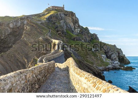 Path to San Juan de Gaztelugatxe (Spain) - stock photo