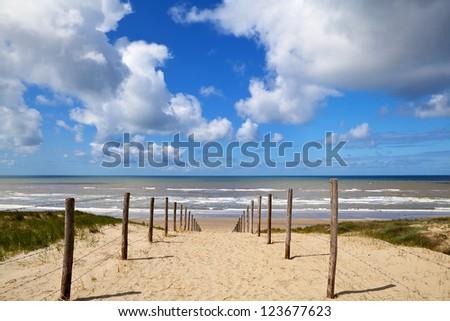 path to the beach on North Sea in Zandvoort aan Zee, Netherlands - stock photo