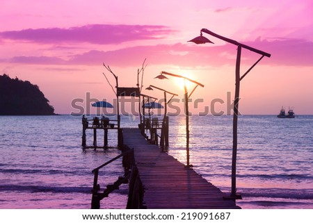 Path to the Night Nightfall by the Sea  - stock photo