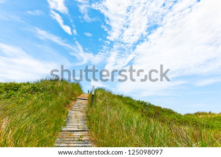 Path to the top of a grassy sand dune at the ocean.  Bright blue summer sky with streaks of white clouds. - stock photo