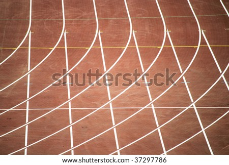 paths for runnings of athletes at olympic stadium in barcelona, spain - stock photo