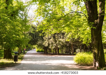 Paths in springtime - stock photo