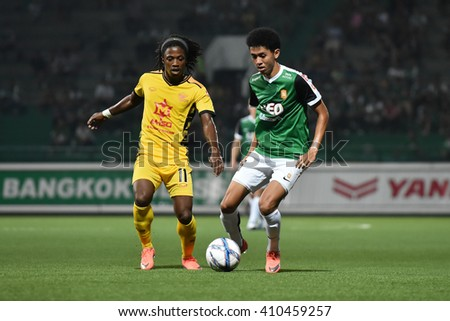 PATHUM THANI,THAILAND-MAR 6:Bodin Phala of Bangkok Glass FC. in action during Thai Premier League 2016 Bangkok Glass FC.and Osotspa M-150 at Leo Stadium on March 6,2016 in PathumThani,Thailand - stock photo