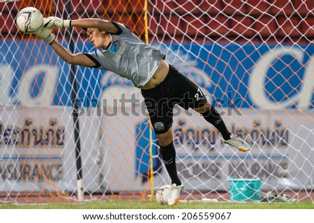 PATHUMTHANI THAI-Jul19:Goalkeeper Pinyo Inpinit of Police Utd.in action during a training ahead  Thai Premier League between Police United and Sisaket FC at Thammasat Stadium on July 19,2014,Thailand - stock photo