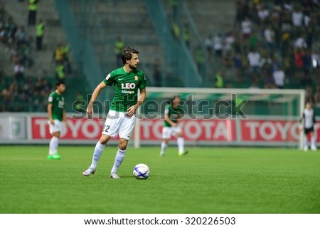 PATHUMTHANI,THAILAND, SEPTEMBER2015: Darko Tasevski(G) of BGFC in action during geam Thai Premier League2015 between Bangkok Glass FC and Army United at LeoStadium on SEPTEMBER 22, 2015 in Thailand. - stock photo