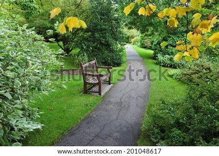 Pathway in a Beautiful Park - stock photo