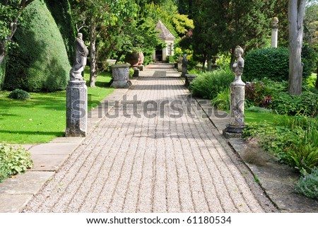 Pathway in a Formal Garden - stock photo